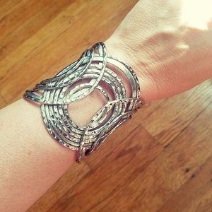 "Jewelry - silver circles 3"" wide large cuff bracelet"